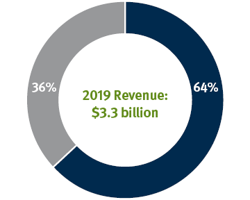 Pie chart showing the percentage of revenue at Stifel that comes from the Institutional Group -36% and Global Wealth Management - 64%